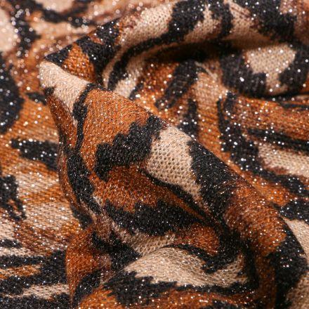 Tissu Maille lurex Feuilles  ocre sur fond Beige
