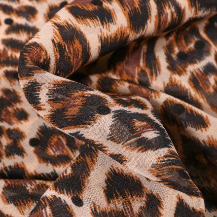 Tissu Mousseline Tâches léopard marron sur fond Beige
