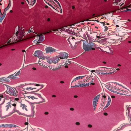Tissu Mousseline Fleurs et pois en relief velours sur fond Rouge