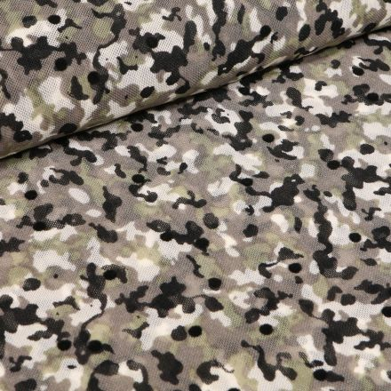 Tissu Tulle souple Camouflages sur fond Vert kaki
