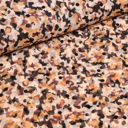 Tissu Tulle souple Camouflages sur fond Ocre