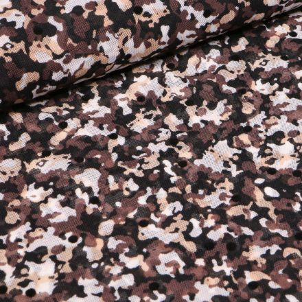 Tissu Tulle souple Camouflages sur fond Marron