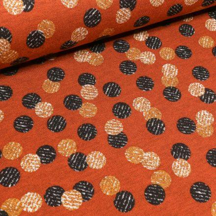 Tissu Jersey Milano  Cercles noirs et jaunes sur fond Orange