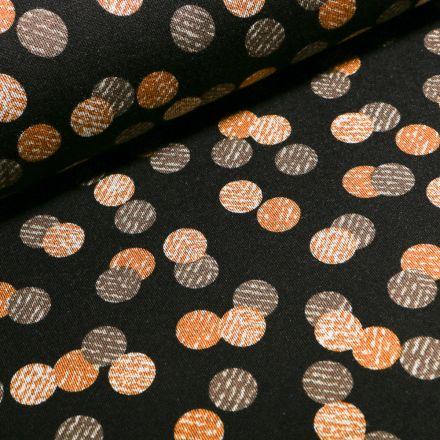 Tissu Jersey Milano  Cercles noirs et jaunes sur fond Bleu marine