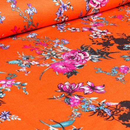Tissu Jersey Viscose  Bouquets de Pivoine sur fond Orange