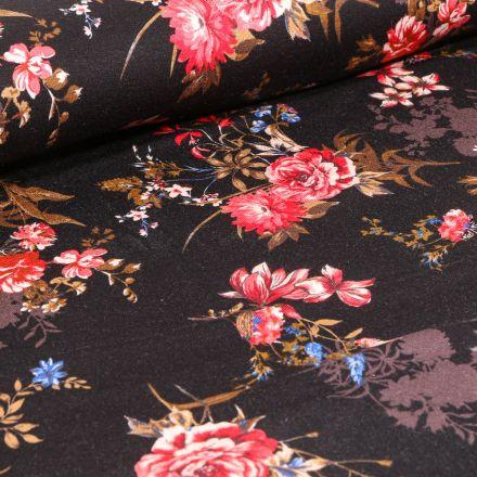 Tissu Jersey Viscose  Bouquets de Pivoine sur fond Noir