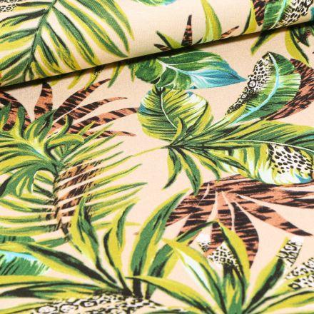 Tissu Jersey Viscose  Feuilles de palmier et imprimé léopard sur fond Beige
