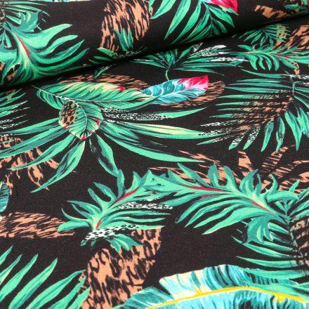 Tissu Jersey Viscose  Feuilles de palmier et imprimé léopard sur fond Noir