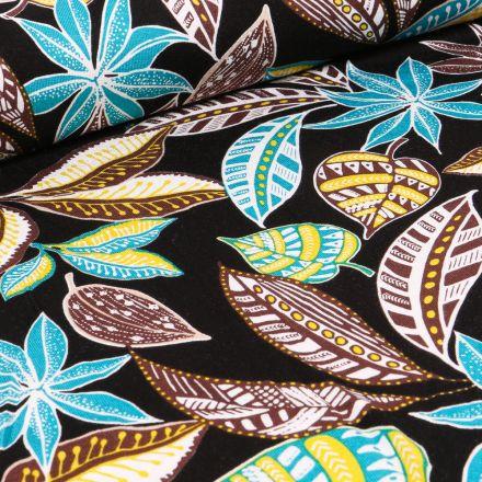 Tissu Jersey Viscose Feuilles tropicales turquoise et marron sur fond Noir