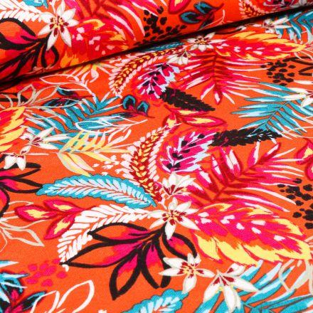 Tissu Jersey Viscose  Feuilles tropicales sur fond Orange