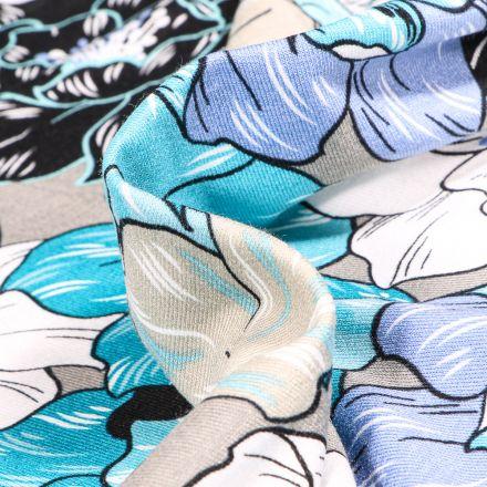 Tissu Jersey Viscose  Pivoines colorés sur fond Bleu gris