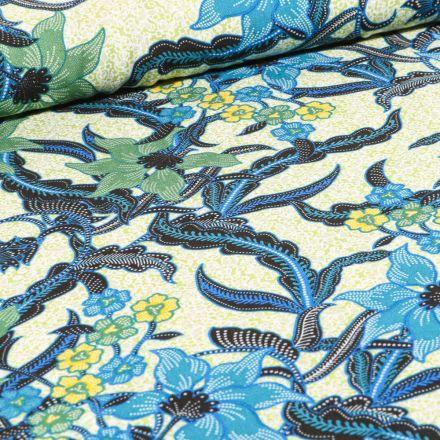 Tissu Viscose Fleurs et lianes sur fond Vert pâle