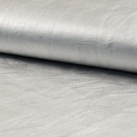 Tissu Simili Cuir Stretch nacré Argenté - Par 10 cm