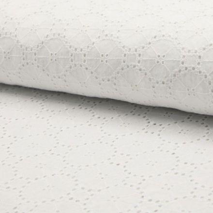 Tissu Broderie Anglaise Cercles Blanc sur fond Blanc - Par 10 cm