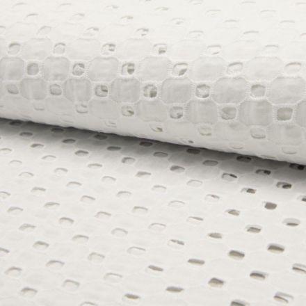 Tissu Broderie anglaise Deluxe n°850 sur fond Blanc - Par 10 cm
