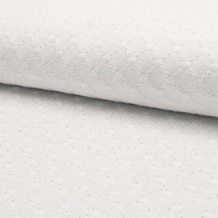 Tissu Broderie Anglaise Losanges Blanc sur fond Blanc - Par 10 cm