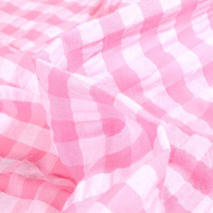 Tissu Seersucker Scarlett Vichy Grands carreaux sur fond Rose