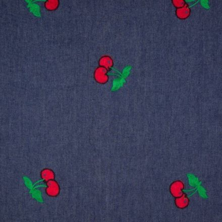 Tissu Denim Jean Cerises rouges et vertes sur fond Bleu foncé - Par 10 cm