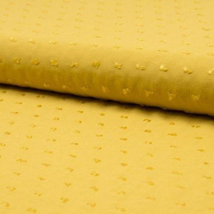 Tissu Plumetis Viscose uni Jaune moutarde - Par 10 cm