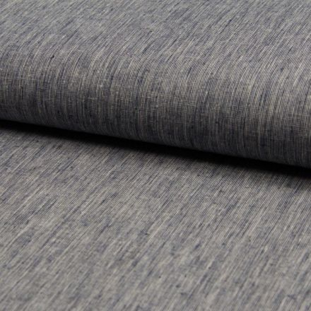 Tissu Lin Coton Fil à fil Bleu marine chiné - Par 10 cm