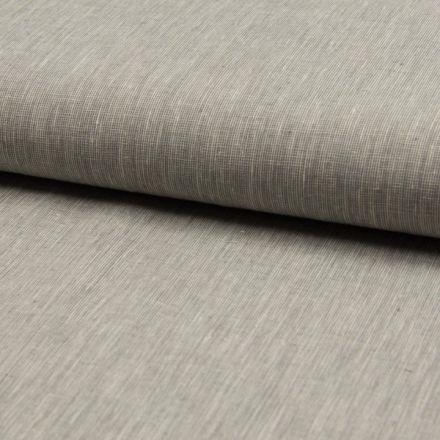 Tissu Lin Coton Fil à fil Gris chiné - Par 10 cm