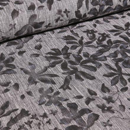Tissu Lin Coton  Fleurs et feuilles sur fond Gris chiné