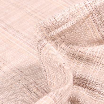Tissu Lin Coton  Carreaux gris sur fond Naturel