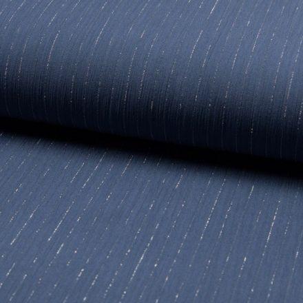Tissu Crépon Viscose rayures lurex Bleu denim - Par 10 cm