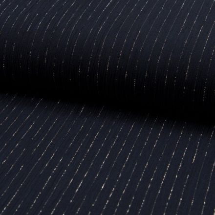 Tissu Crépon Viscose rayures lurex Bleu marine - Par 10 cm