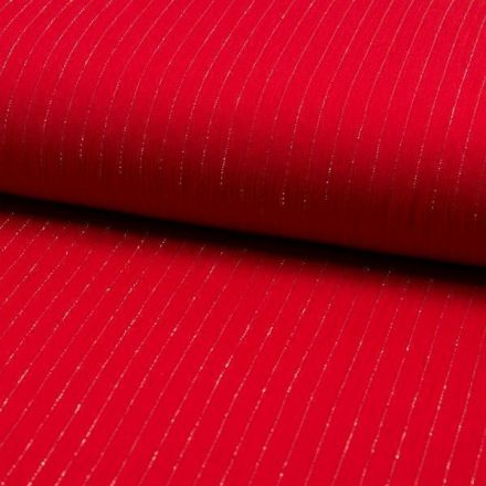 Tissu Crépon Viscose rayures lurex Rouge - Par 10 cm