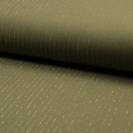 Tissu Crépon Viscose rayures lurex Vert kaki - Par 10 cm