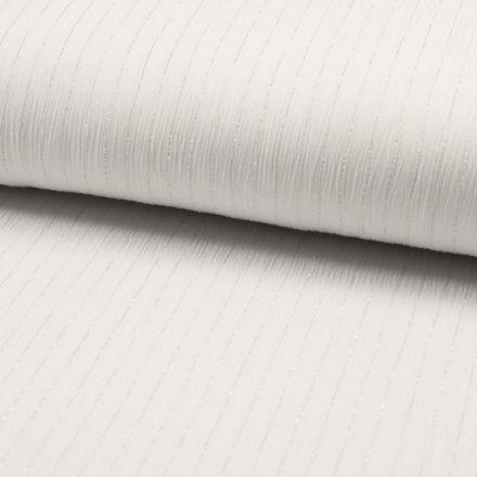 Tissu Crépon Viscose rayures lurex Blanc - Par 10 cm
