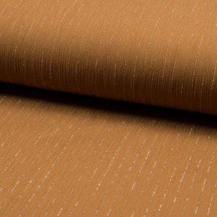 Tissu Crépon Viscose rayures lurex Camel - Par 10 cm