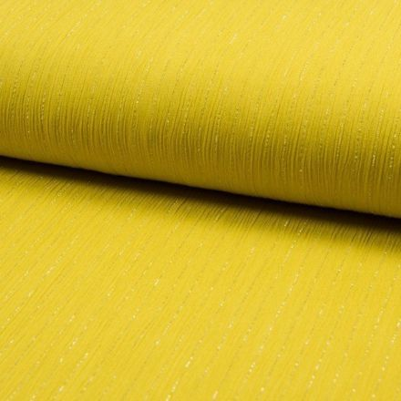 Tissu Crépon Viscose rayures lurex Jaune - Par 10 cm