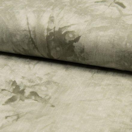 Tissu Viscose texturé Tye and dye sur fond Vert kaki clair - Par 10 cm