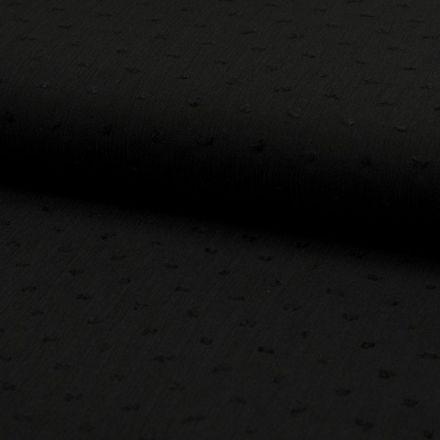 Tissu Plumetis Crépon de viscose Noir - Par 10 cm