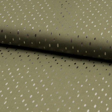 Tissu Viscose  Gouttes métallisées argentées Vert kaki - Par 10 cm