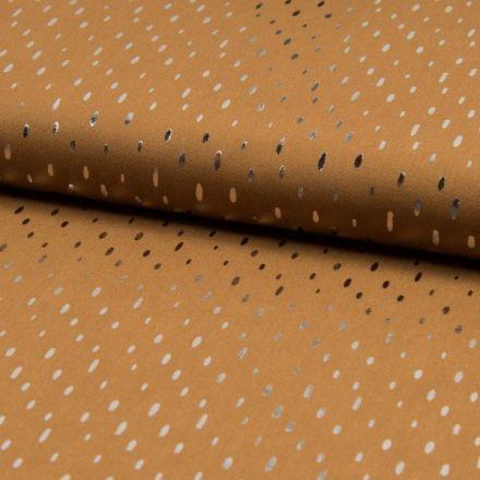 Tissu Viscose  Gouttes métallisées argentées Camel - Par 10 cm