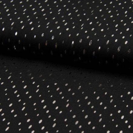 Tissu Viscose  Gouttes métallisées argentées Noir - Par 10 cm