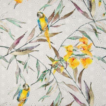 Tissu Coton brodé et ajouré Perroquets et feuilles sur fond Blanc - Par 10 cm