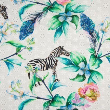Tissu Coton brodé et ajouré Zèbres et feuilles sur fond Blanc - Par 10 cm