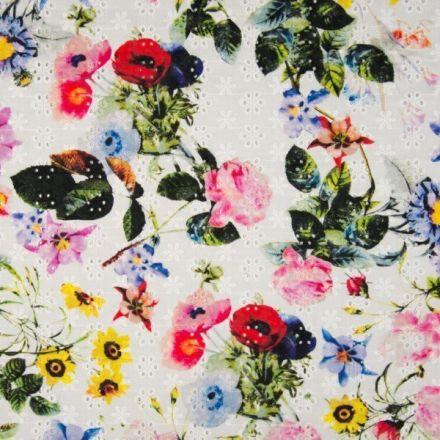 Tissu Coton brodé et ajouré Feuilles et fleurs sur fond Blanc - Par 10 cm