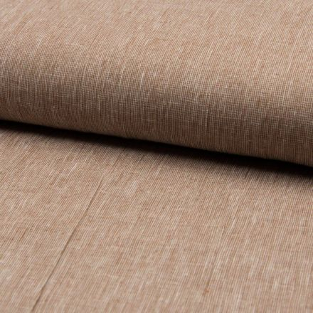 Tissu Lin Coton tissage étamine Camel - Par 10 cm