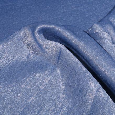 Tissu Voile satiné uni Bleu - Par 10 cm
