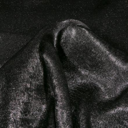 Tissu Voile satiné uni Noir - Par 10 cm