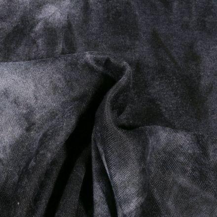 Tissu Maille Jersey Tie and Dye Noir - Par 10 cm