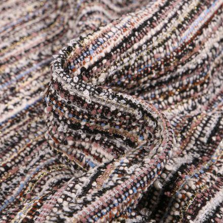 Tissu Maille lurex texturé Rayures sur fond Multicolore