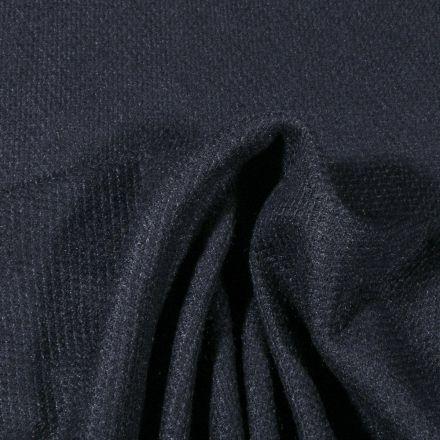 Tissu Maille polyviscose piqué Bleu marine - Par 10 cm