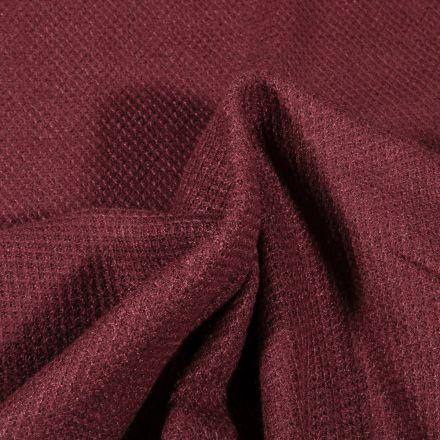 Tissu Maille polyviscose piqué Bordeaux - Par 10 cm