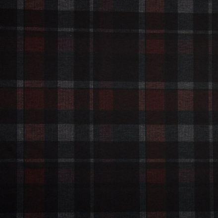 Tissu Milano Carreaux Rouge-noir-écru sur fond Noir - Par 10 cm